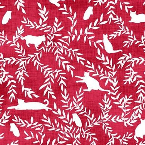 Cats & Mittens in Christmas Red
