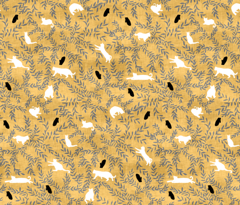Cats & Mittens in Gold fabric by pond_ripple on Spoonflower - custom fabric