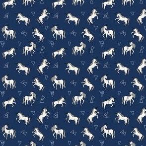 unicorn // unicorns mini trendy navy blue cute unicorn tiny print