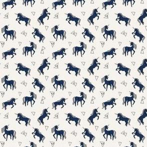 unicorns // navy blue unicorn cute mini design tiny unicorns navy blue