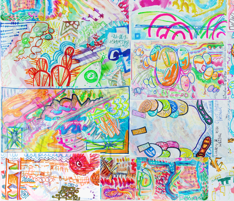 Drawing Collection fabric by sparklezilla on Spoonflower - custom fabric