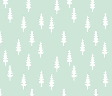 tree on mint fabric by littlearrowdesign on Spoonflower - custom fabric
