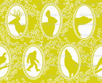 woodland cameos in mustard