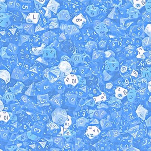 a sea of baby blue dice
