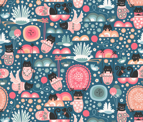 Kitten Delivery fabric by christinewitte on Spoonflower - custom fabric