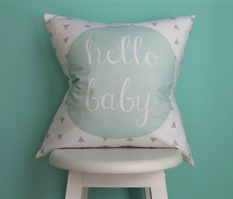 Hello Baby Mint Gray Pillow Cover // 18""