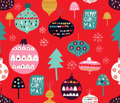 vintage-ornaments-red-version fabric by sarabrezzi_design on Spoonflower - custom fabric