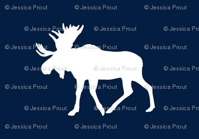 Moose // white on navy