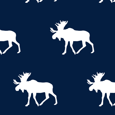 Moose // white on navy fabric by littlearrowdesign on Spoonflower - custom fabric