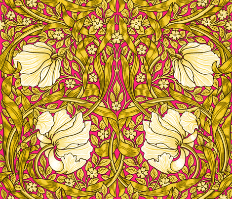 William Morris ~ Pimpernel ~ Sunshine on Courtesan  fabric by peacoquettedesigns on Spoonflower - custom fabric