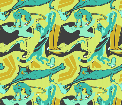 Le chat qui rit fabric by wren_leyland on Spoonflower - custom fabric