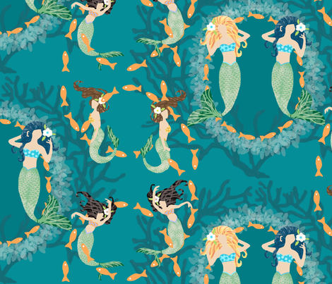 Playful Mermaids with Fish & Coral fabric by lauriekentdesigns on Spoonflower - custom fabric