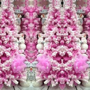 Pink Xmas trees with snowmen