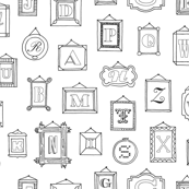 Hall of Letters (Color-Your-Own) || coloring book typography gallery wall art picture frame alphabet abc illustration museum
