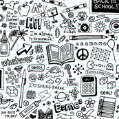 Doodled School Supplies (Color-Your-Own) || doodles graffiti children math science 80s pen pencil drawings notebook paper kids