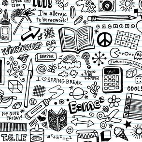 Doodled School Supplies (Color-Your-Own)    coloring book doodles graffiti children math science 80s pen pencil drawings notebook paper kids