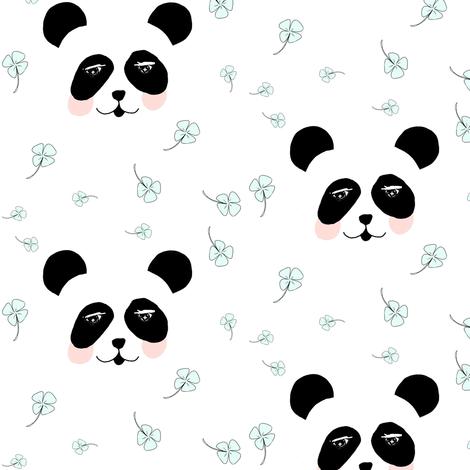 Lucky panda mint fabric by miamea on Spoonflower - custom fabric