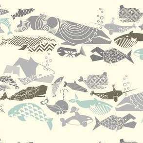 MINI: Geometric Whales on Parade - Greys on Cream