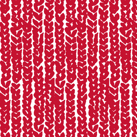 lrg scale hand knit - red on white fabric by ali*b on Spoonflower - custom fabric