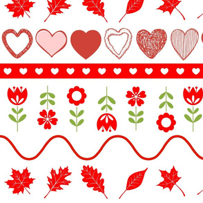 Red Hearts Flowers Leaves