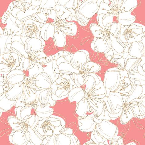 Cherry Blossom // gold glitter fabric by j_durham on Spoonflower - custom fabric