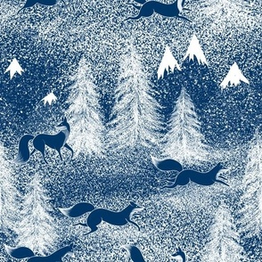 Winter foxes in the deep forest