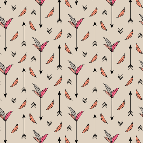 Arrows and Feathers Pink fabric by kimsa on Spoonflower - custom fabric