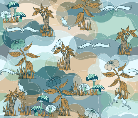 Dinosaur World_Aqua-Browns_ fabric by house_of_heasman on Spoonflower - custom fabric