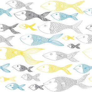 Doodle Fish - Blue and Yellow