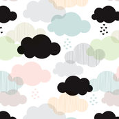 Pastel geometric clouds and scandinavian soft sky