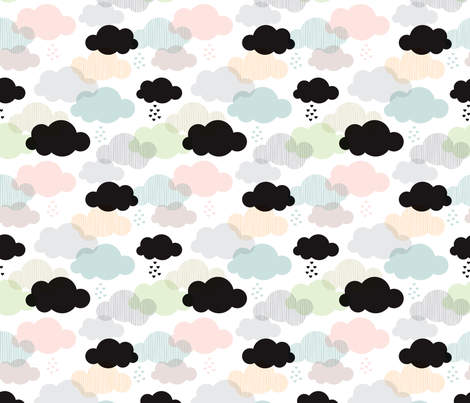 Pastel geometric clouds and scandinavian soft sky fabric by littlesmilemakers on Spoonflower - custom fabric
