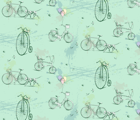 Bicycles and Dalmation fabric by gail_mcneillie on Spoonflower - custom fabric