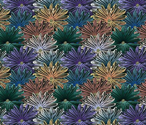 big flowers blue green fabric by glimmericks on Spoonflower - custom fabric