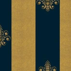 gold and sapphire fleur de lis 2 inch wide dblspc offset