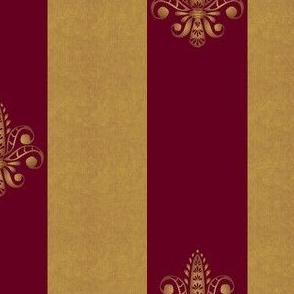 gold and ruby fleur de lis 2 inch wide dblspc offset