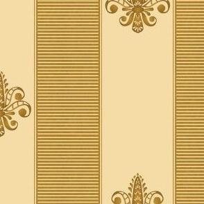 gold and buttercream fleur de lis 2 inch stripe
