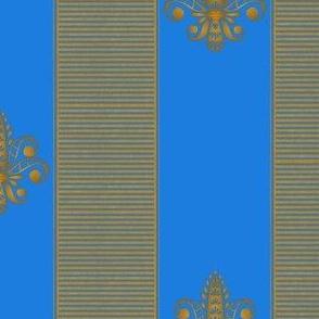 gold and bright blue fleur de lis 2 inch stripe