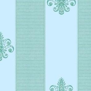 aqua  fleur de lis 2 inch stripe
