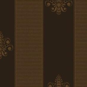 chocolate fleur de lis 2 inch stripe