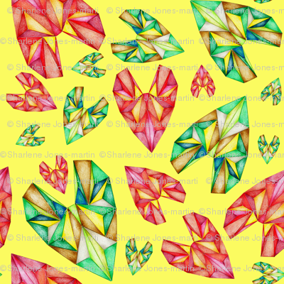 Geodesic Gemstone Heart Hawaiian Print