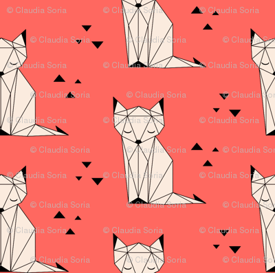 Sleepy Fox Coral Background