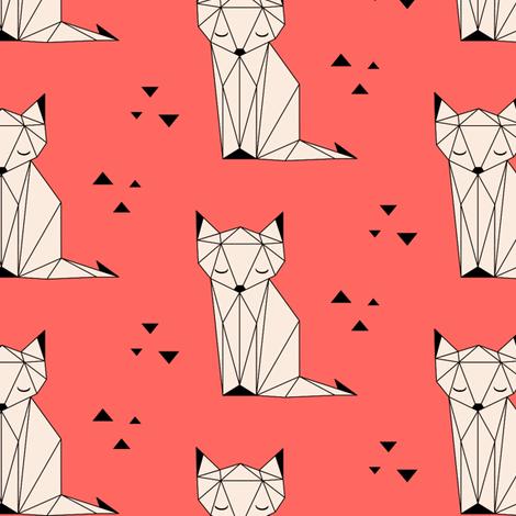 Sleepy Fox Coral Background fabric by kimsa on Spoonflower - custom fabric