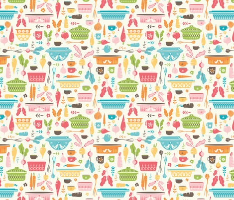 Vintage pyrex vegetables soup fabric by martamunte on Spoonflower - custom fabric