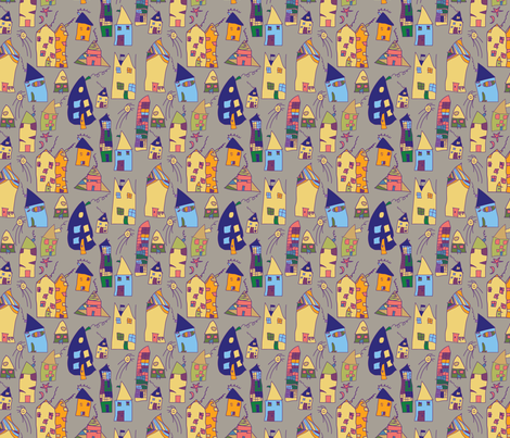 Elas Houses brawn fabric by tutorialgirl on Spoonflower - custom fabric