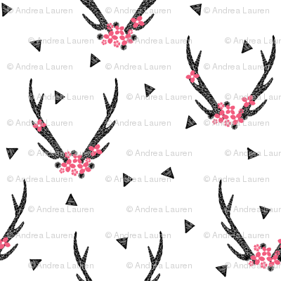 floral antlers // black and white baby girls pink flowers floral triangle flower antlers