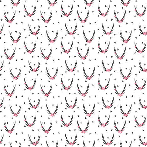 floral antlers // black and white baby girls pink flowers floral triangle flower antlers fabric by andrea_lauren on Spoonflower - custom fabric