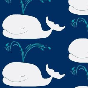 Whales - navy/white