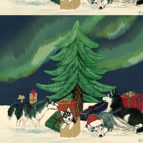 Xmas panel w/Aurora Borealis -ed