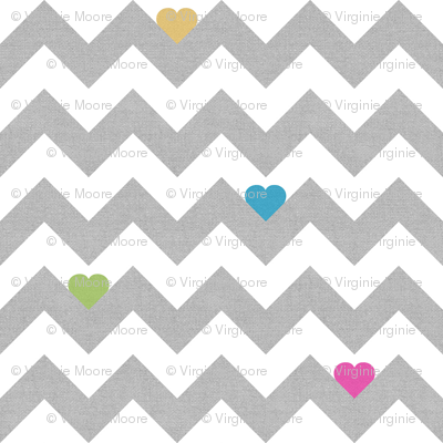heart & chevron - grey/multi canvas - mini