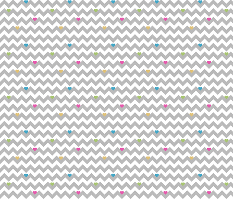 heart & chevron - grey/multi canvas - mini fabric by minky_gigi on Spoonflower - custom fabric